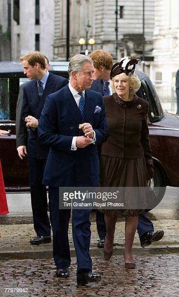 Prince Charles Prince of Wales and Camilla Duchess of Cornwall attend a service of thanksgiving at Westminster Abbey to celebrate the Queen and...