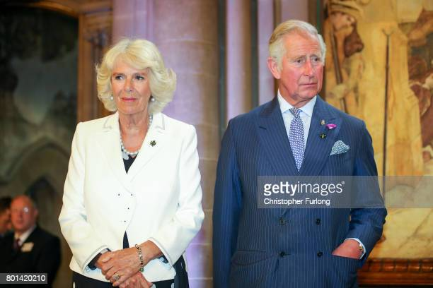 Prince Charles Prince of Wales and Camilla Duchess of Cornwall attend a reception in Manchester Town Hall to thank those involved during the...