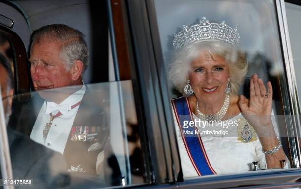 Prince Charles Prince of Wales and Camilla Duchess of Cornwall attend a State Banquet at Buckingham Palace on day 1 of the Spanish State Visit on...