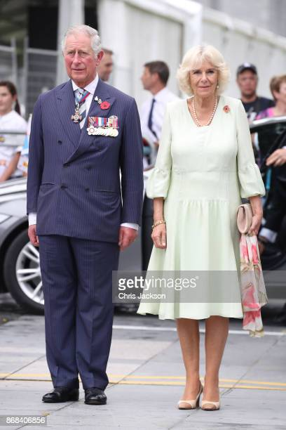 Prince Charles Prince of Wales and Camilla Duchess of Cornwall attend a memorial ceremony at the Cenotaph war memorial on October31 2017 in Singapore...