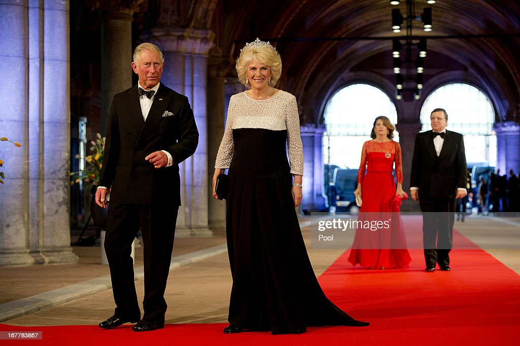 Prince Charles, Prince of Wales and Camilla, Duchess of Cornwall followed by President of the European Commission, Jose Manuel Barroso, and his wife Maria Margarida Sousa Uva Barroso attend a dinner hosted by Queen Beatrix of The Netherlands ahead of her abdication at Rijksmuseum on April 29, 2013 in Amsterdam, Netherlands.