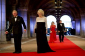Prince Charles Prince of Wales and Camilla Duchess of Cornwall followed by President of the European Commission Jose Manuel Barroso and his wife...