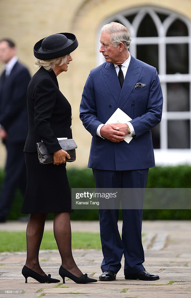 Prince Charles, Prince of Wales and Camilla, Duchess of Cornwall depart after attending a Requiem Mass for Hugh van Cutsem who passed away on September 2nd 2013 at Brentwood Cathedral on September 11, 2013 in Brentwood, England.