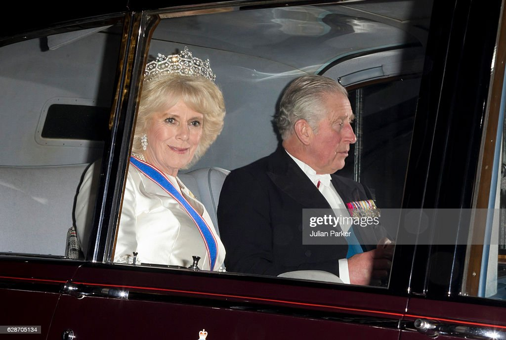 Prince Charles, Prince of Wales, and Camilla, Duchess of Cornwall depart after attending the annual Diplomatic Reception at Buckingham Palace on December 8, 2016 in London, England