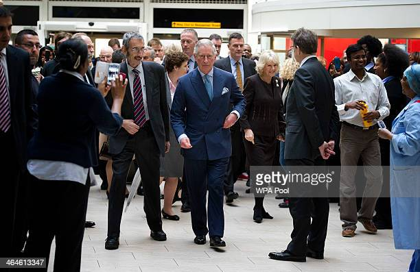 Prince Charles Prince of Wales and Camilla Duchess of Cornwall during an official visit to King's College Hospital on January 23 2014 in London...