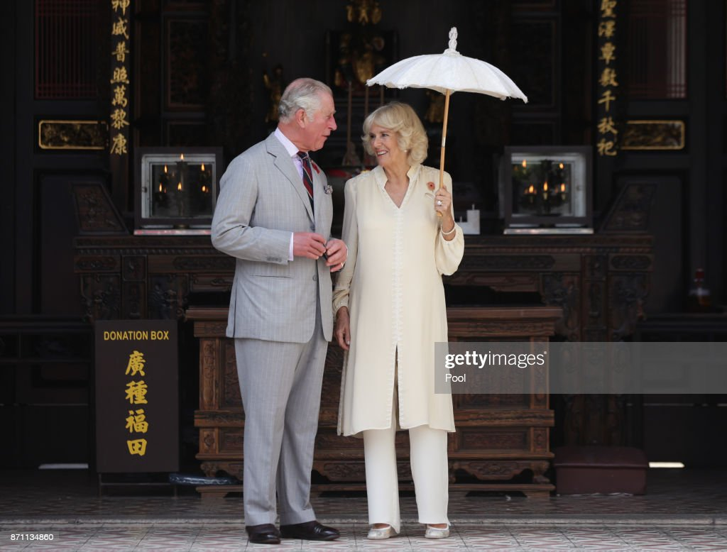 Prince Charles, Prince of Wales and Camilla, Duchess of Cornwall during a visit to Han Jiang Temple on November 7, 2017 in Penang, Malaysia. Prince Charles, Prince of Wales and Camilla, Duchess of Cornwall are on a tour of Singapore, Malaysia, Brunei and India.
