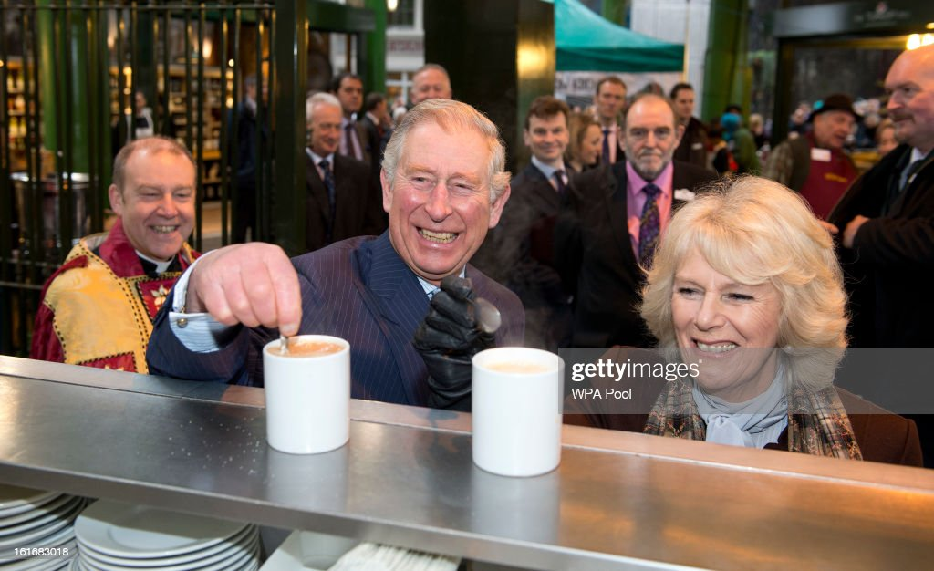 <a gi-track='captionPersonalityLinkClicked' href=/galleries/search?phrase=Prince+Charles+-+Prince+of+Wales&family=editorial&specificpeople=160180 ng-click='$event.stopPropagation()'>Prince Charles</a>, Prince of Wales and <a gi-track='captionPersonalityLinkClicked' href=/galleries/search?phrase=Camilla+-+Duchess+of+Cornwall&family=editorial&specificpeople=158157 ng-click='$event.stopPropagation()'>Camilla</a>, Duchess of Cornwall enjoy a cup of tea during a visit to Borough Market on February 13, 2013 in London, England.
