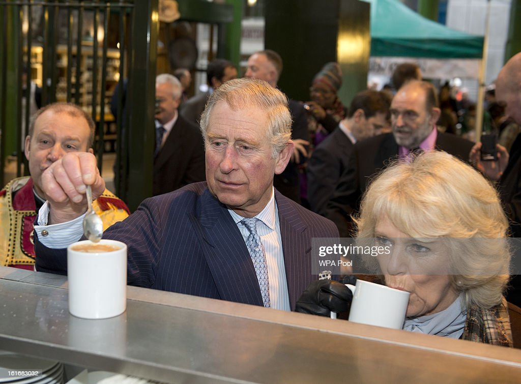 <a gi-track='captionPersonalityLinkClicked' href=/galleries/search?phrase=Prince+Charles&family=editorial&specificpeople=160180 ng-click='$event.stopPropagation()'>Prince Charles</a>, Prince of Wales and <a gi-track='captionPersonalityLinkClicked' href=/galleries/search?phrase=Camilla+-+Duchess+of+Cornwall&family=editorial&specificpeople=158157 ng-click='$event.stopPropagation()'>Camilla</a>, Duchess of Cornwall enjoy a cup of tea during a visit to Borough Market on February 13, 2013 in London, England.