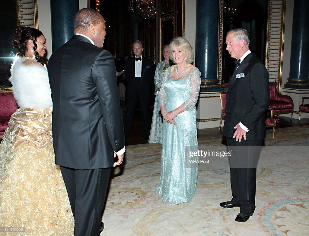 Prince Charles, Prince of Wales and Camilla, Duchess of Cornwall greet King Mswati III of Swaziland and wife Inkhosikati LaMbikiza of Swaziland as they arrive for a dinner for foreign Sovereigns to commemorate the Diamond Jubilee at Buckingham Palace on May 18, 2012 in London, England. Prince Charles, Prince of Wales and Camilla, Duchess of Cornwall hosted the event.