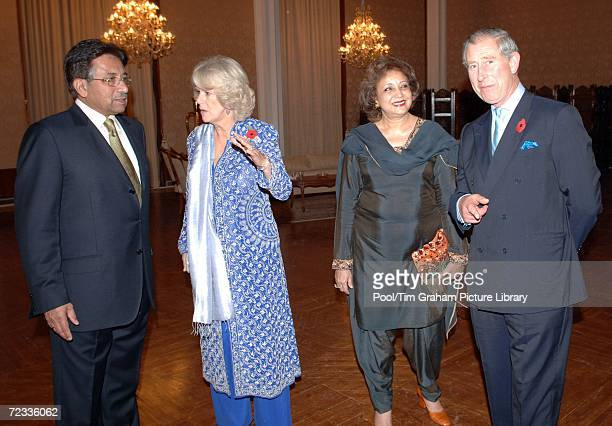 Prince Charles Prince of Wales and Camilla Duchess of Cornwall join the President of Pakistan General Pervez Musharraf and his wife Sehba Musharraf...