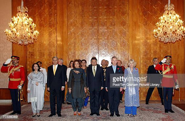 Prince Charles Prince of Wales and Camilla Duchess of Cornwall join Prime Minister of Pakistan Shaukat Aziz and his wife Begum Rukhsana Aziz...