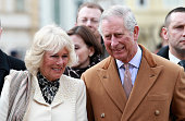 Prince Charles Prince of Wales and Camilla Duchess of Cornwall laugh as they watch traditional Croation Dancers in the town square on March 15 2016...