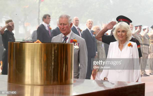 Prince Charles Prince of Wales and Camilla Duchess of Cornwall lay a wreath at India Gate during a visit to India on November 9 2017 in New Delhi...