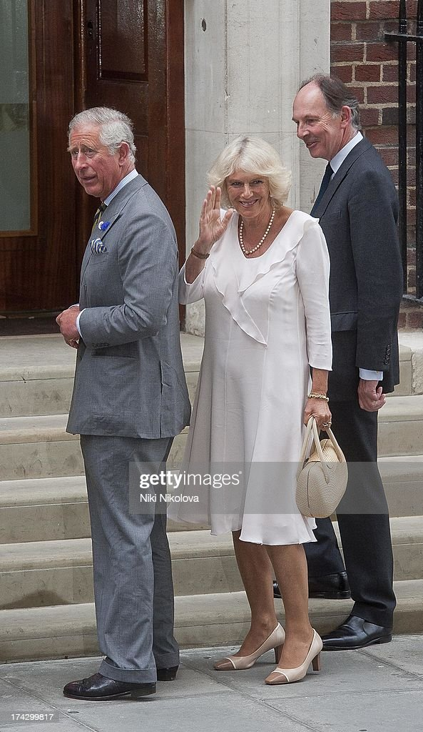 <a gi-track='captionPersonalityLinkClicked' href=/galleries/search?phrase=Prince+Charles&family=editorial&specificpeople=160180 ng-click='$event.stopPropagation()'>Prince Charles</a>, Prince of Wales and <a gi-track='captionPersonalityLinkClicked' href=/galleries/search?phrase=Camilla+-+Duchess+of+Cornwall&family=editorial&specificpeople=158157 ng-click='$event.stopPropagation()'>Camilla</a>, Duchess of Cornwall leave The Lindo Wing after visiting The Duke and Duchess Of Cambridge and their newborn son at St Mary's Hospital at St Mary's Hospital on July 23, 2013 in London, England.