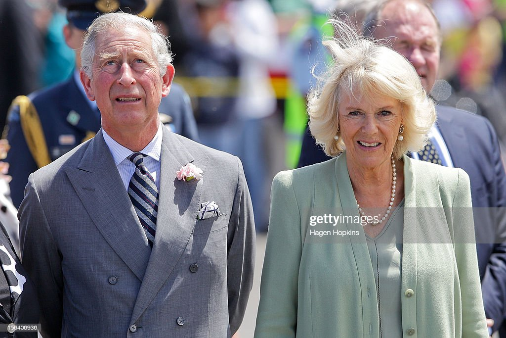 Prince Charles, Prince of Wales and Camilla, Duchess of Cornwall look on at Manchester Square on November 15, 2012 in Feilding, New Zealand. The Royal couple are in New Zealand on the last leg of a Diamond Jubilee that takes in Papua New Guinea, Australia and New Zealand.