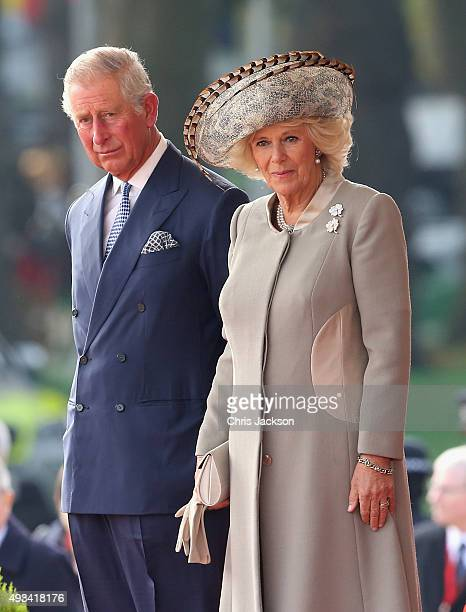 Prince charles Prince of Wales and Camilla Duchess of Cornwall look towards the stage on Horseguards Parade during the Official Ceremonial Welcome...