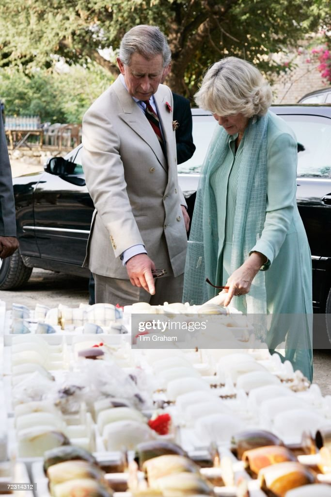 Prince Charles Prince of Wales and Camilla Duchess of Cornwall look at souvenirs after a visit to a Buddhist monastery archaeological site in Taxila...