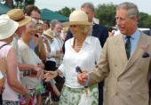 Prince Charles Prince of Wales and Camilla Duchess of Cornwall meet the public at the Sandringham Flower Show at Sandringham Norfolk on July 26 2006...