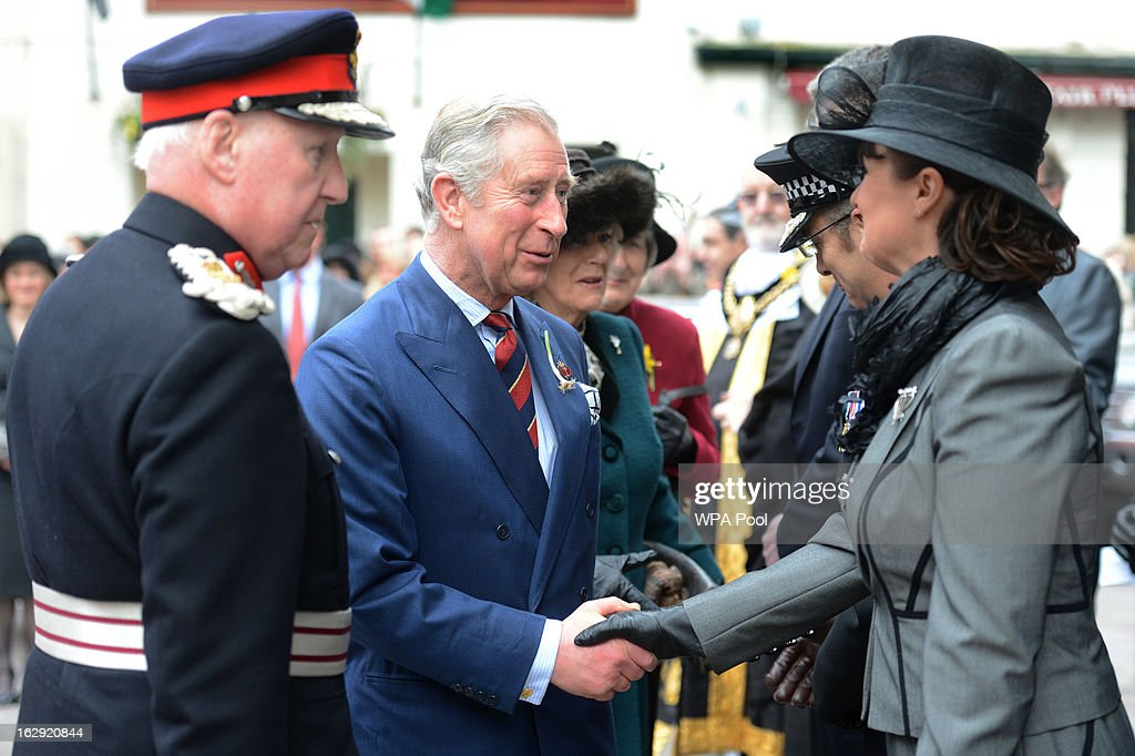 <a gi-track='captionPersonalityLinkClicked' href=/galleries/search?phrase=Prince+Charles+-+Prince+of+Wales&family=editorial&specificpeople=160180 ng-click='$event.stopPropagation()'>Prince Charles</a>, Prince of Wales and <a gi-track='captionPersonalityLinkClicked' href=/galleries/search?phrase=Camilla+-+Duchess+of+Cornwall&family=editorial&specificpeople=158157 ng-click='$event.stopPropagation()'>Camilla</a>, Duchess of Cornwall meet dignitaries at St John The Baptist City Parish Church as they attend the National St David's Day service on March 1, 2013 in Cardiff, Wales.