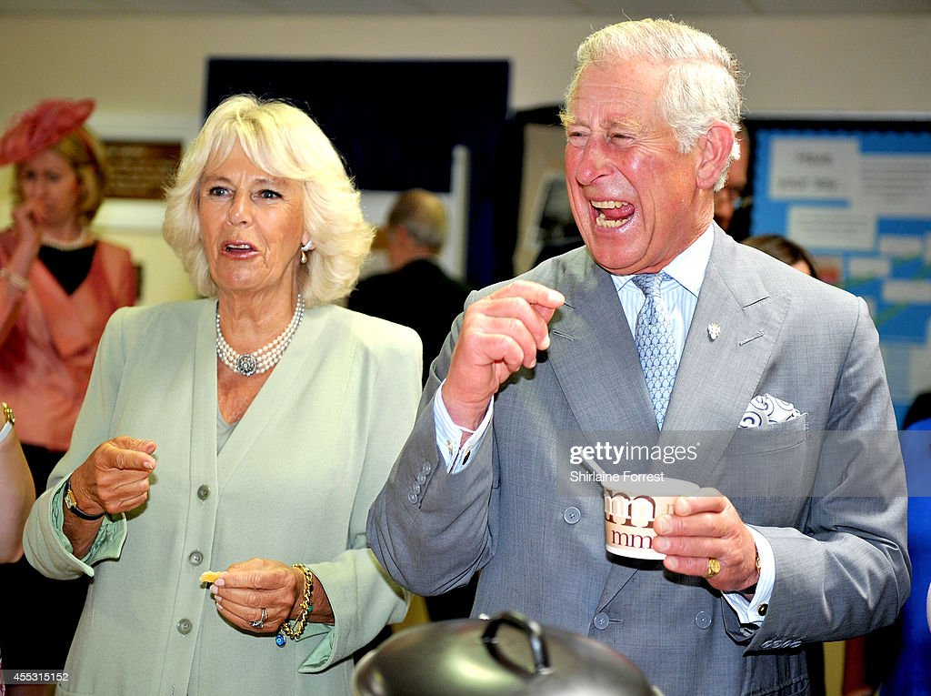 Prince Charles Prince of Wales and Camilla Duchess of Cornwall meet staff and children during an official visit to Lache Primary School on September...