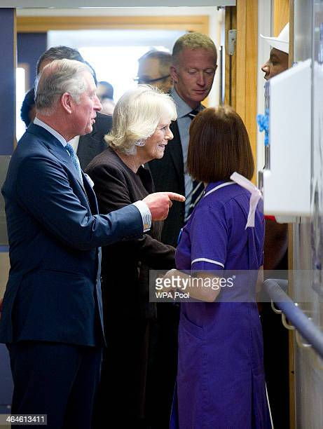 Prince Charles Prince of Wales and Camilla Duchess of Cornwall meet staff during an official visit to King's College Hospital on January 23 2014 in...