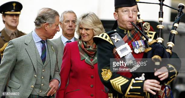 NOVEMBER 2007*** Prince Charles Prince of Wales and Camilla Duchess of Cornwall meet Territorial Army soldiers during a ceremony to present the...