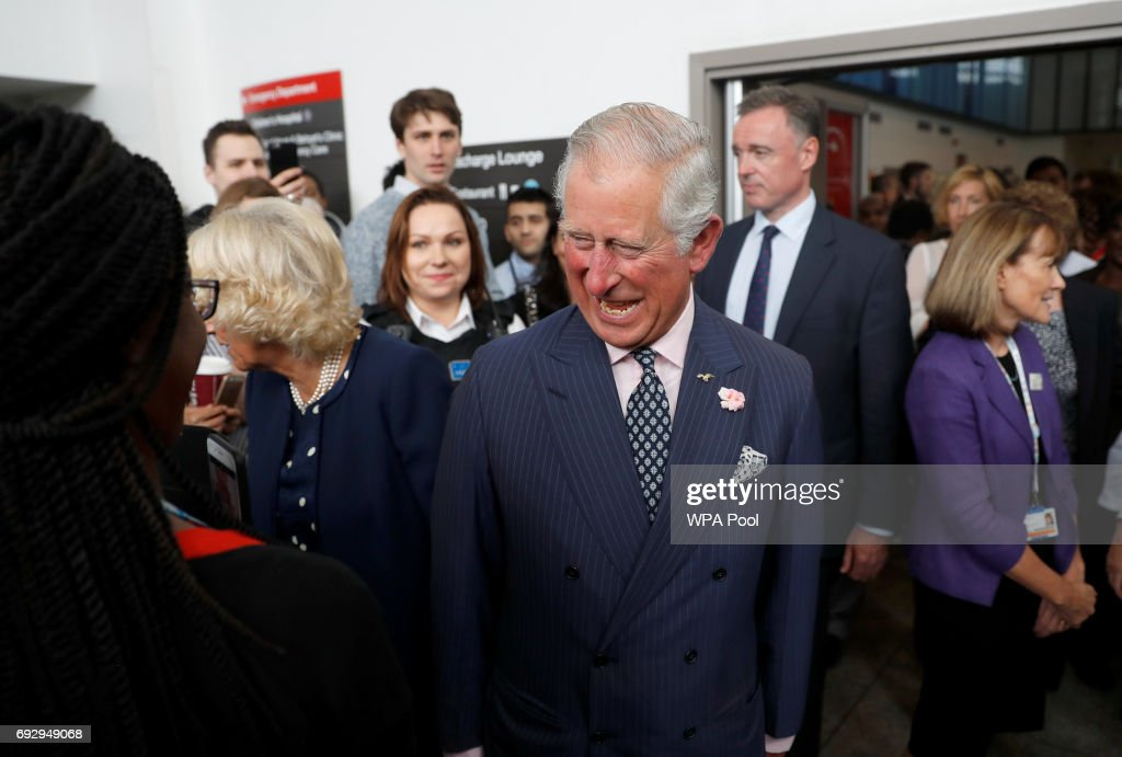 Prince Charles, Prince of Wales and Camilla, Duchess of Cornwall meet members of staff at the Royal London Hospital following the London Bridge Terror Attack, on June 6, 2017 in London, England.