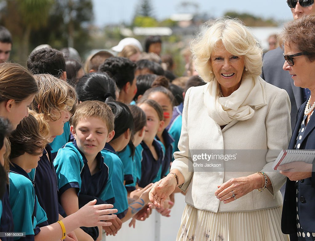 Prince Charles, Prince of Wales and Camilla, Duchess of Cornwall meets children during a visit to AUT Millennium on November 12, 2012 in Auckland, New Zealand. The Royal couple are in New Zealand on the last leg of a Diamond Jubilee that takes in Papua New Guinea, Australia and New Zealand.