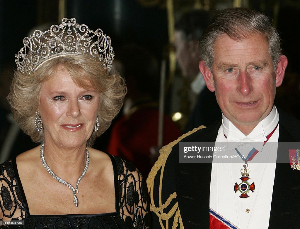 Prince Charles, Prince of Wales and Camilla, Duchess of Cornwall pose before the banquet for the Norwegian Royal Family at Buckingham Palace on October 25, 2005 in London, England. The visit is to mark 100 years of Norway's independence from Sweden.