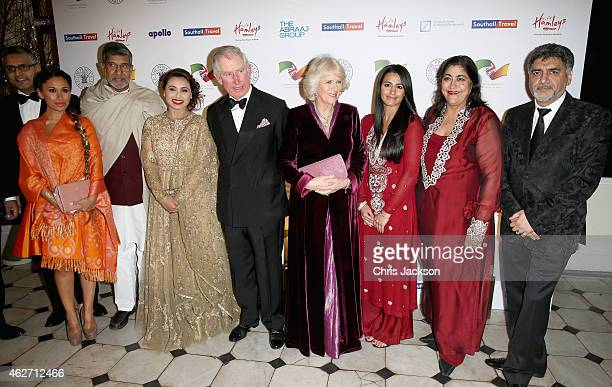 Prince Charles Prince of Wales and Camilla Duchess of Cornwall pose with Preeya Kalidas Kailash Satyarthi actress Rani Mukerji Sair Khan Gurinder...