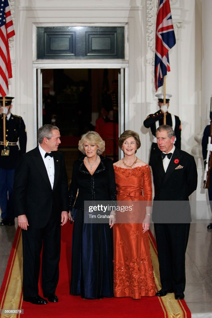 TRH Prince Charles, Prince of Wales and Camilla, Duchess of Cornwall pose with President George W Bush and First Lady Laura Bush at a dinner held at the White House on the second day of their official visit to the US, on November 2, 2005 in Washington DC.