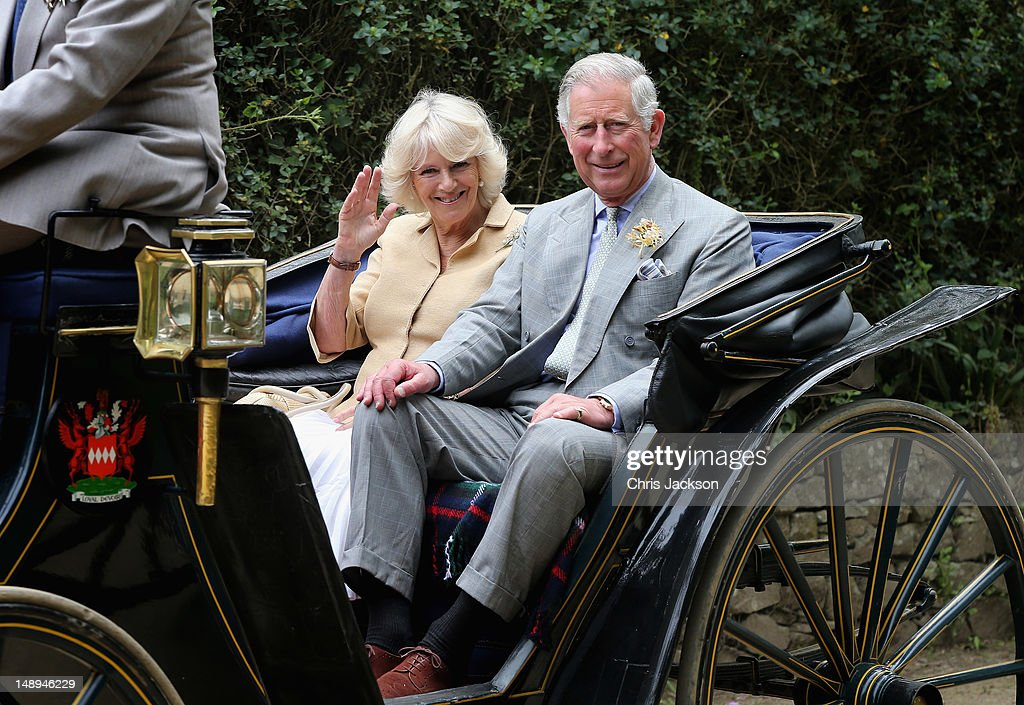 <a gi-track='captionPersonalityLinkClicked' href=/galleries/search?phrase=Prince+Charles+-+Prince+of+Wales&family=editorial&specificpeople=160180 ng-click='$event.stopPropagation()'>Prince Charles</a>, Prince of Wales and <a gi-track='captionPersonalityLinkClicked' href=/galleries/search?phrase=Camilla+-+Duchess+of+Cornwall&family=editorial&specificpeople=158157 ng-click='$event.stopPropagation()'>Camilla</a>, Duchess of Cornwall ride in a horse-drawn carriage on the Island of Sark on July 20, 2012 in Sark, United Kingdom. The Prince of Wales and the Duchess of Cornwall are in Sark as part of a Diamond Jubilee visit to the Channel Islands taking in Jersey, Guernsey and Sark