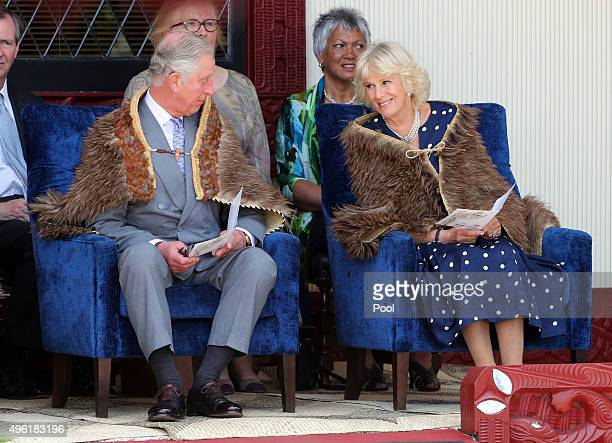 Prince Charles Prince of Wales and Camilla Duchess of Cornwall seen during their visit to Turangawaewae Marae on November 8 2015 in Ngaruawahia New...