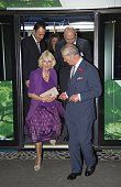 Prince Charles Prince of Wales and Camilla Duchess of Cornwall step off a British designed bus that will be used in the Mexico transport system at...