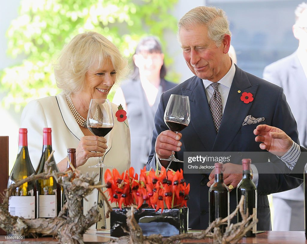 <a gi-track='captionPersonalityLinkClicked' href=/galleries/search?phrase=Prince+Charles+-+Prince+of+Wales&family=editorial&specificpeople=160180 ng-click='$event.stopPropagation()'>Prince Charles</a>, Prince of Wales and <a gi-track='captionPersonalityLinkClicked' href=/galleries/search?phrase=Camilla+-+Duchess+of+Cornwall&family=editorial&specificpeople=158157 ng-click='$event.stopPropagation()'>Camilla</a>, Duchess of Cornwall taste wine at the Penfolds Magill State Winery on November 7, 2012 in Adelaide, Australia. The Royal couple are in Australia on the second leg of a Diamond Jubilee Tour taking in Papua New Guinea, Australia and New Zealand.