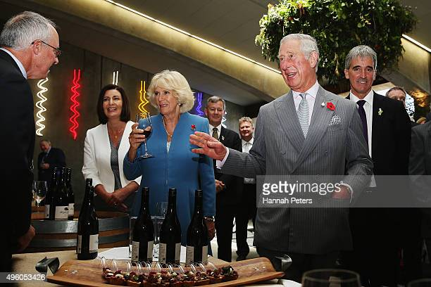 Prince Charles Prince of Wales and Camilla Duchess of Cornwall taste wine at Mahana Winery on November 7 2015 in Nelson New Zealand The Royal couple...