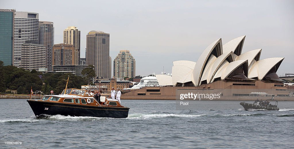 Prince Charles, Prince of Wales and Camilla, Duchess of Cornwall travel on board The Royal Barge as it passes in front of the Sydney Opera House on November 9, 2012 in Sydney, Australia. The Royal couple are in Australia on the second leg of a Diamond Jubilee Tour taking in Papua New Guinea, Australia and New Zealand.