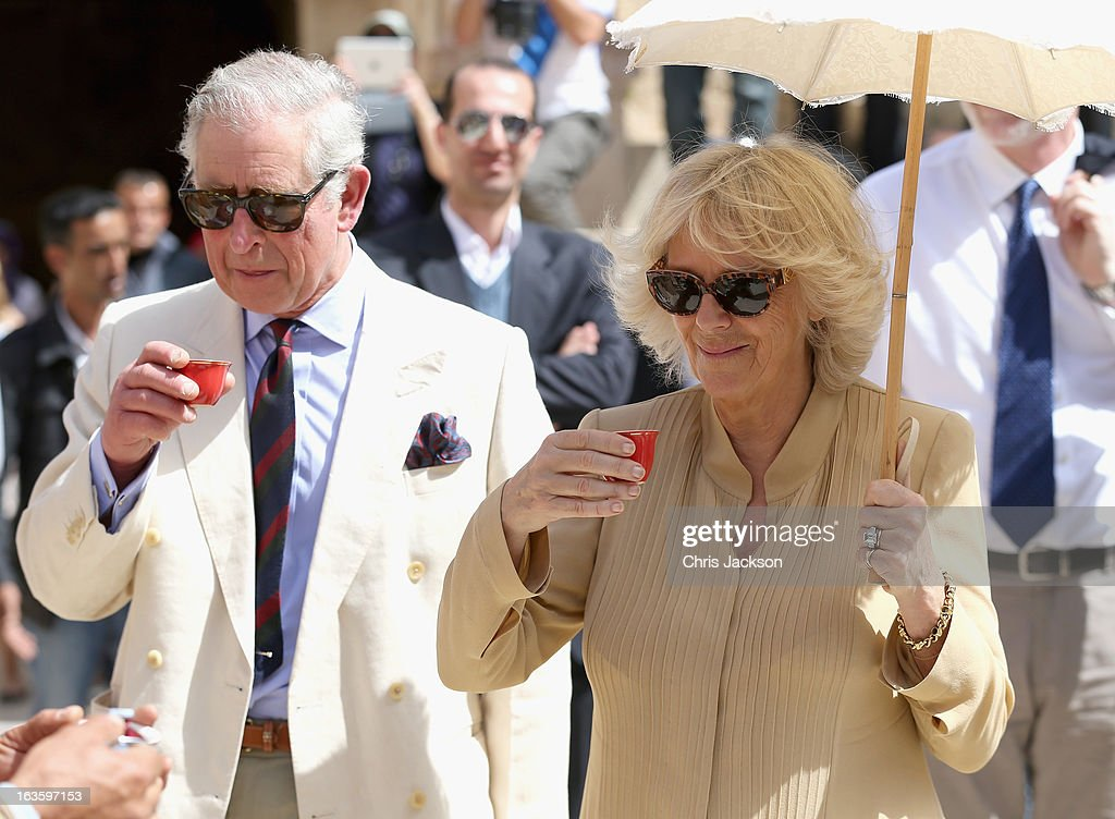 <a gi-track='captionPersonalityLinkClicked' href=/galleries/search?phrase=Prince+Charles+-+Prince+of+Wales&family=editorial&specificpeople=160180 ng-click='$event.stopPropagation()'>Prince Charles</a>, Prince of Wales and <a gi-track='captionPersonalityLinkClicked' href=/galleries/search?phrase=Camilla+-+Duchess+of+Cornwall&family=editorial&specificpeople=158157 ng-click='$event.stopPropagation()'>Camilla</a>, Duchess of Cornwall try the local tea as they visit the ancient Roman ruins in Jaresh on the third day of a visit to the country on March 13, 2013 in Jaresh, Jordan. The Royal couple are on the first leg of a tour of the Middle East taking in Qatar, Saudia Arabia and Oman.