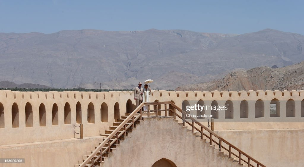 Prince Charles Prince of Wales and Camilla Duchess of Cornwall visit Nizwa Fort on the eighth day of a tour of the Middle East on March 18 2013 in...