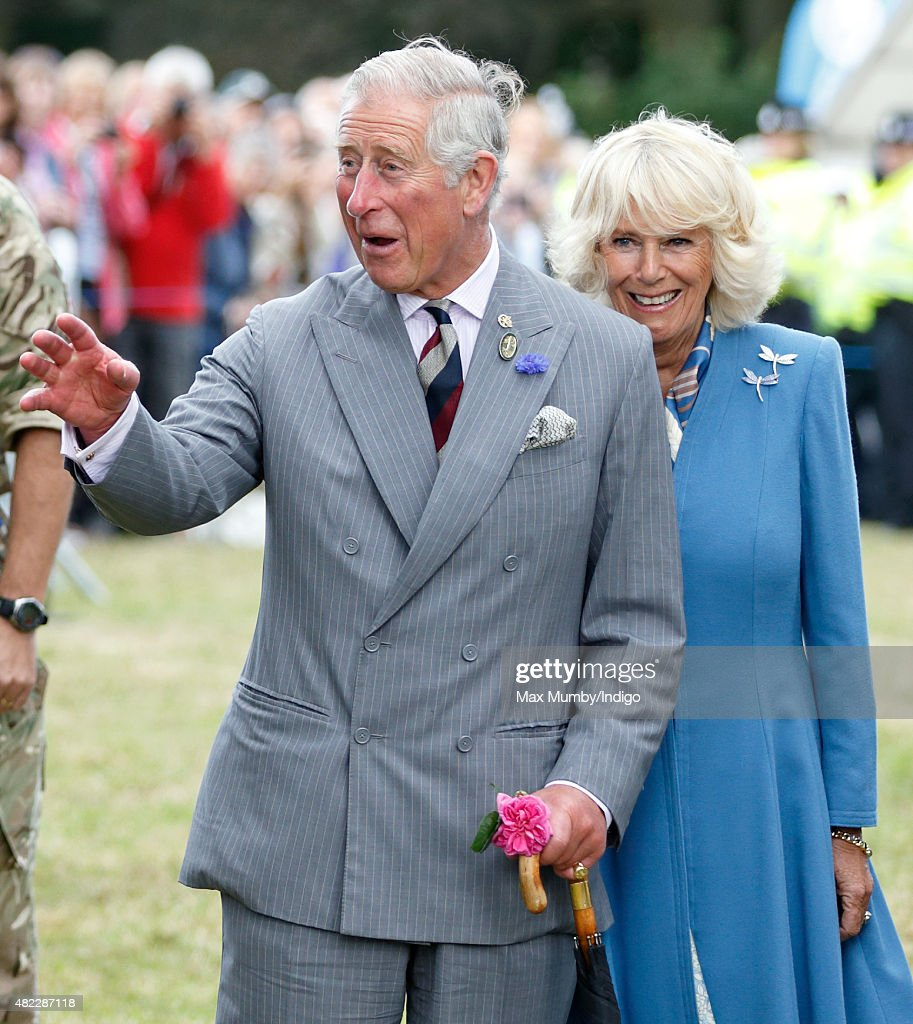 Prince Charles Prince of Wales and Camilla Duchess of Cornwall visit the Sandringham Flower Show on July 29 2015 in King's Lynn England