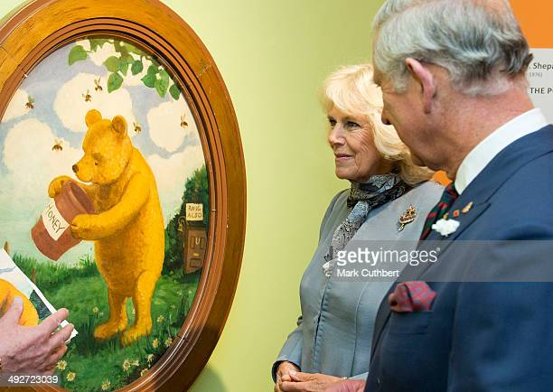 Prince Charles Prince of Wales and Camilla Duchess of Cornwall visit the Pavillion where he viewed Winnie the Pooh displays before being presented...