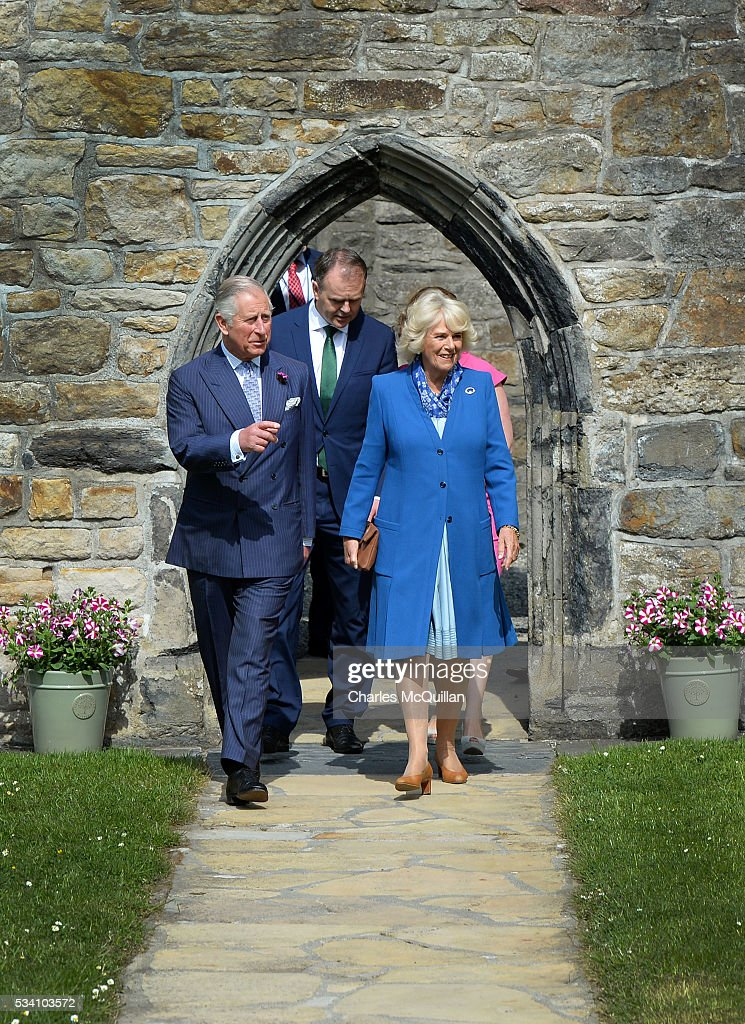 Prince Charles, Prince of Wales and <a gi-track='captionPersonalityLinkClicked' href=/galleries/search?phrase=Camilla+-+Duchessa+di+Cornovaglia&family=editorial&specificpeople=158157 ng-click='$event.stopPropagation()'>Camilla</a>, Duchess of Cornwall visit Donegal Castle on May 25, 2016 in Letterkenny, Ireland. The royal couple are on a one day visit to Ireland having spent two days across the border in Northern Ireland. It is their first trip to Donegal.