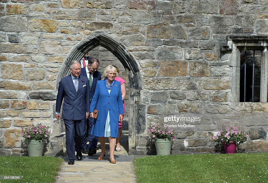 Prince Charles, Prince of Wales and <a gi-track='captionPersonalityLinkClicked' href=/galleries/search?phrase=Camilla+-+Hertogin+van+Cornwall&family=editorial&specificpeople=158157 ng-click='$event.stopPropagation()'>Camilla</a>, Duchess of Cornwall visit Donegal Castle on May 25, 2016 in Letterkenny, Ireland. The royal couple are on a one day visit to Ireland having spent two days across the border in Northern Ireland. It is their first trip to Donegal.