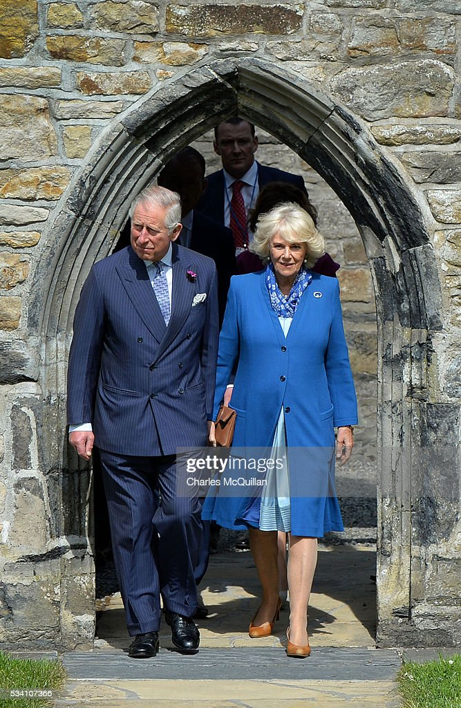 Prince Charles, Prince of Wales and <a gi-track='captionPersonalityLinkClicked' href=/galleries/search?phrase=Camilla+-+Duquesa+da+Cornualha&family=editorial&specificpeople=158157 ng-click='$event.stopPropagation()'>Camilla</a>, Duchess of Cornwall visit Donegal Castle on May 25, 2016 in Letterkenny, Ireland. The royal couple are on a one day visit to Ireland having spent two days across the border in Northern Ireland. It is their first trip to Donegal.