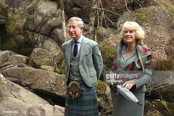 MAY 2006*** Prince Charles Prince of Wales and Camilla Duchess of Cornwall visit Muir of Dinnet National Nature Reserve on Royal Deeside during their...