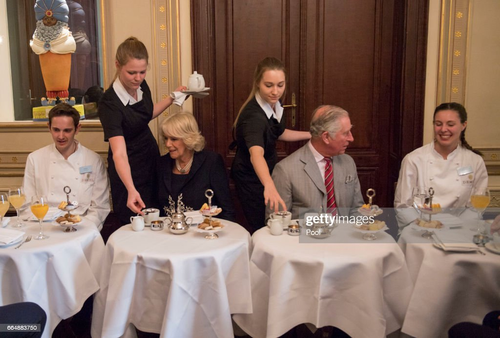 Prince Charles, Prince of Wales and Camilla, Duchess of Cornwall visit Cafe Demel on April 5, 2017 in Vienna, Austria. Their Royal Highnesses observed pastry chefs demonstrating traditional patisserie techniques and met some of the students enrolled in Café Demel's apprenticeship scheme for aspiring confectioners.