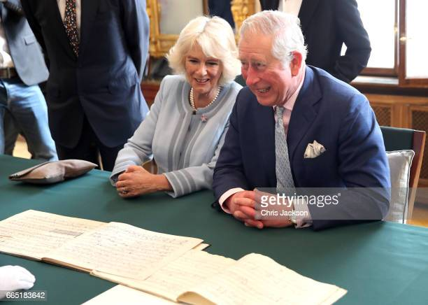 Prince Charles Prince of Wales and Camilla Duchess of Cornwall visit the Musikverein home of the 175 year old Vienna Philharmonic Orchestra where...