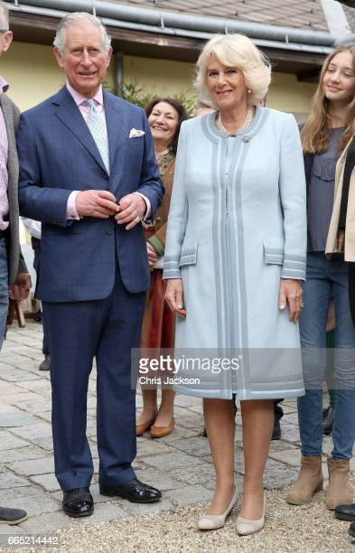 Prince Charles Prince of Wales and Camilla Duchess of Cornwall visit the Weinbau Buscheschank Obermann vineyard on April 6 2017 in Vienna Austria...
