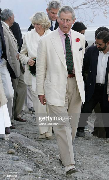 Prince Charles Prince of Wales and Camilla Duchess of Cornwall visit Nansoq organic village on November 03 2006 in Skardu Pakistan This is the sixth...