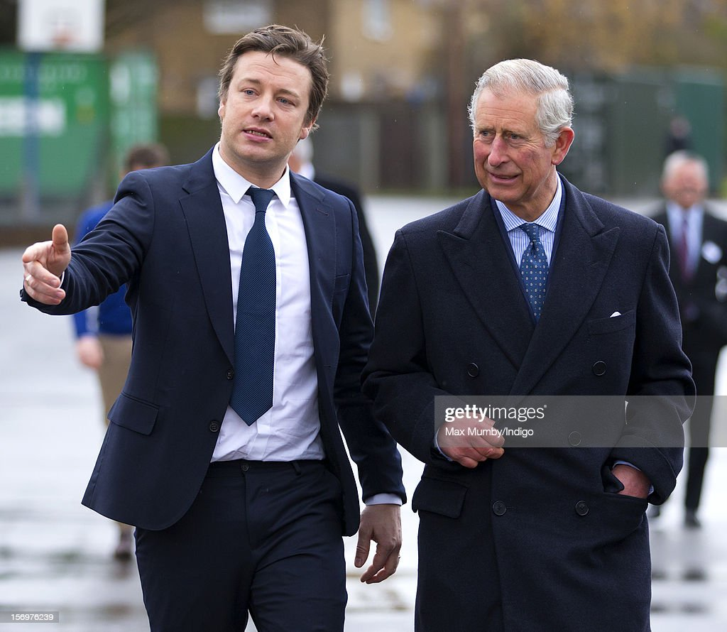 <a gi-track='captionPersonalityLinkClicked' href=/galleries/search?phrase=Prince+Charles+-+Prince+of+Wales&family=editorial&specificpeople=160180 ng-click='$event.stopPropagation()'>Prince Charles</a>, Prince of Wales and chef <a gi-track='captionPersonalityLinkClicked' href=/galleries/search?phrase=Jamie+Oliver&family=editorial&specificpeople=159384 ng-click='$event.stopPropagation()'>Jamie Oliver</a> (L) visit Carshalton Boys Sports College to see how the school has transformed its approach to healthy eating on November 26, 2012 in Carshalton, England.